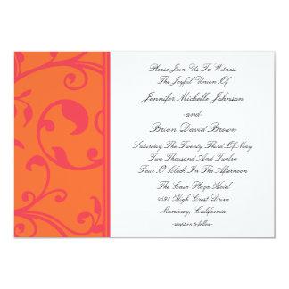 Invitaciones rosadas anaranjadas de la dicha del invitación 12,7 x 17,8 cm