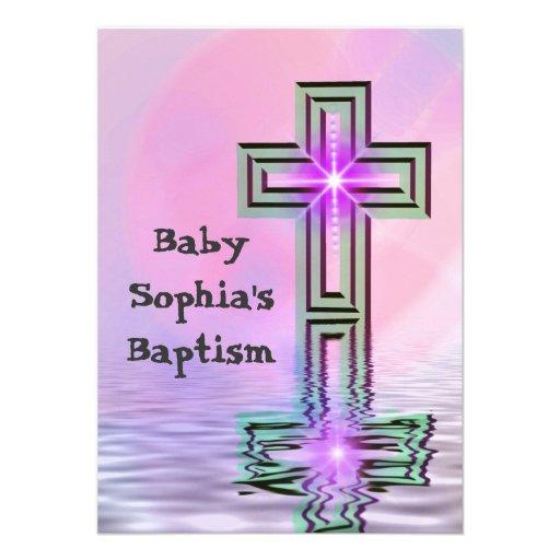 Invitaciones rosadas bonitas del bautismo/del baut comunicados