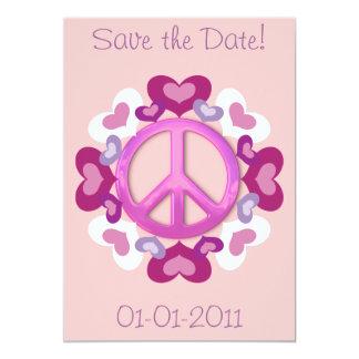 Invitaciones rosadas bonitas del signo de la paz y invitaciones personales