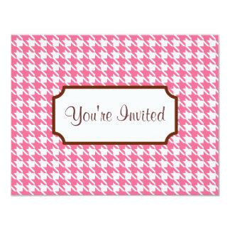 Invitaciones rosadas de Houndstooth Invitación 10,8 X 13,9 Cm