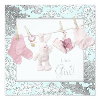 Invitaciones rosadas de la ducha de la niña de la invitaciones personales