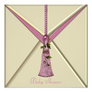 Invitaciones rosadas de la ducha de la niña de la invitación 13,3 cm x 13,3cm