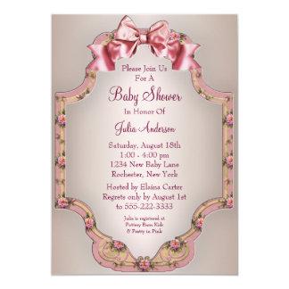 Invitaciones rosadas de la ducha de la niña de los invitación 12,7 x 17,8 cm