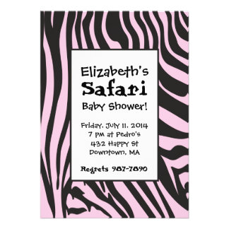 Invitaciones rosadas de la ducha del safari del es