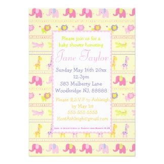 Invitaciones rosadas de la fiesta de bienvenida al