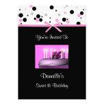 Invitaciones rosadas de la fiesta de cumpleaños de comunicado personalizado