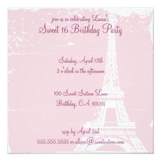 Invitaciones rosadas de la fiesta de cumpleaños de invitación 13,3 cm x 13,3cm