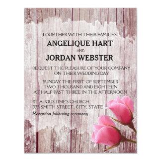 Invitaciones rosadas de madera rústicas del boda invitación 10,8 x 13,9 cm