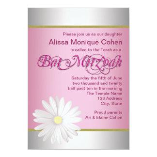 Invitaciones rosadas de Mitzvah del palo de la