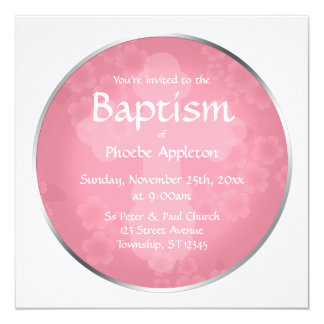 Invitaciones rosadas del bautismo de la filigrana invitación 13,3 cm x 13,3cm