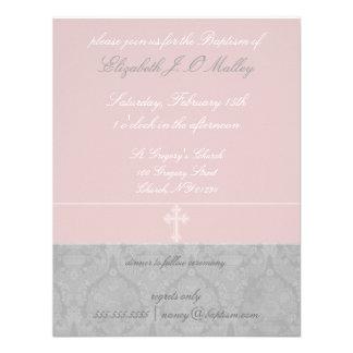 Invitaciones rosadas del bautismo del cordón invitacion personal