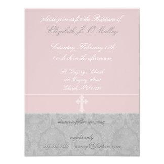 Invitaciones rosadas del bautismo del cordón invitación 10,8 x 13,9 cm