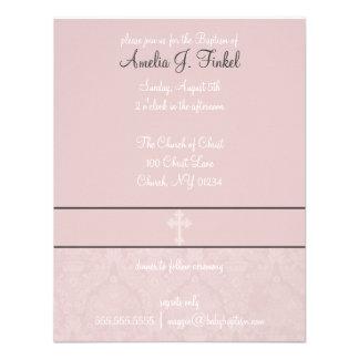Invitaciones rosadas del bautismo del cordón invitación