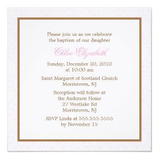 Invitaciones rosadas del bautismo del damasco invitación 13,3 cm x 13,3cm