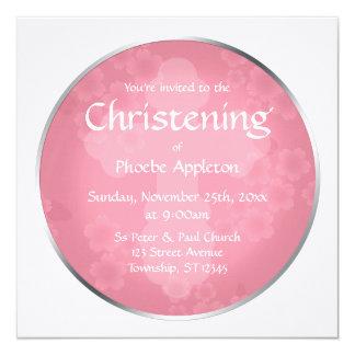Invitaciones rosadas del bautizo de la filigrana invitación 13,3 cm x 13,3cm