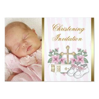 Invitaciones rosadas del bautizo de la foto de la invitación 12,7 x 17,8 cm