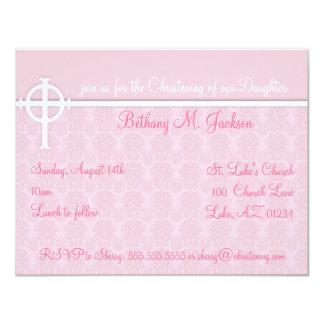 Invitaciones rosadas del bautizo invitación 10,8 x 13,9 cm