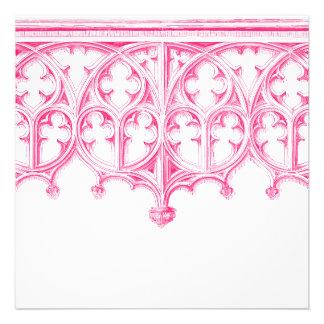 Invitaciones rosadas del boda de la catedral anuncios personalizados