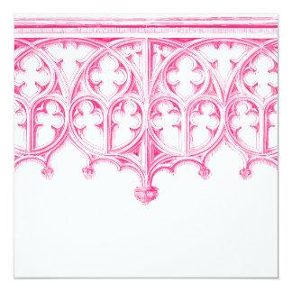 Invitaciones rosadas del boda de la catedral invitación 13,3 cm x 13,3cm