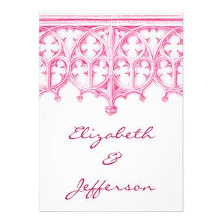Invitaciones rosadas del boda de la catedral
