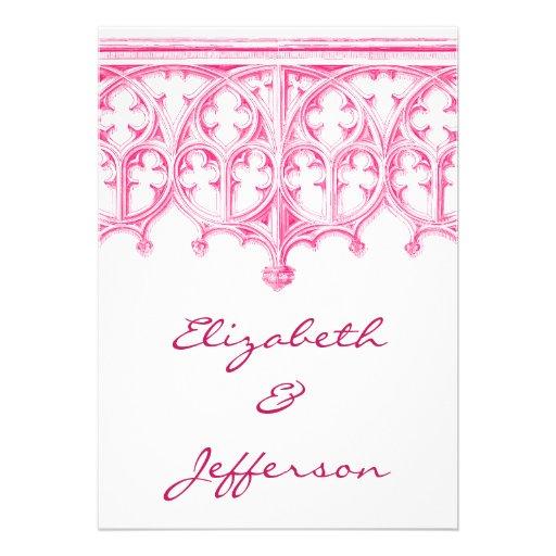 Invitaciones rosadas del boda de la catedral anuncios