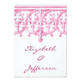 Invitaciones rosadas del boda de la catedral invitación 12,7 x 17,8 cm