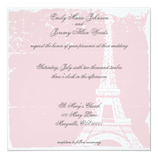 Invitaciones rosadas del boda de la torre Eiffel Invitación 13,3 Cm X 13,3cm