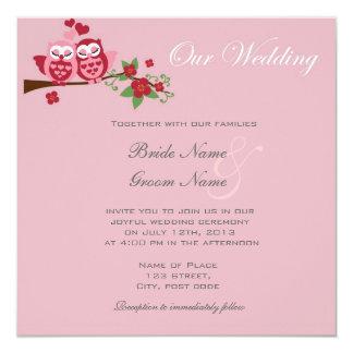 invitaciones rosadas del boda de los búhos de los invitación 13,3 cm x 13,3cm
