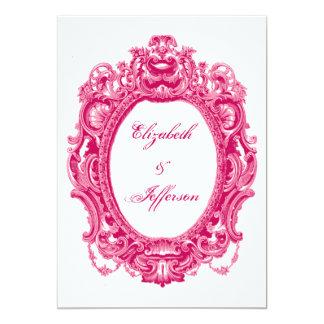 Invitaciones rosadas del boda del marco del invitación 12,7 x 17,8 cm