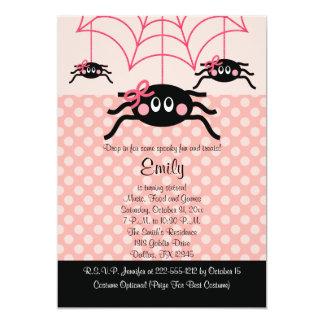 Invitaciones rosadas del cumpleaños de Halloween Invitación 12,7 X 17,8 Cm