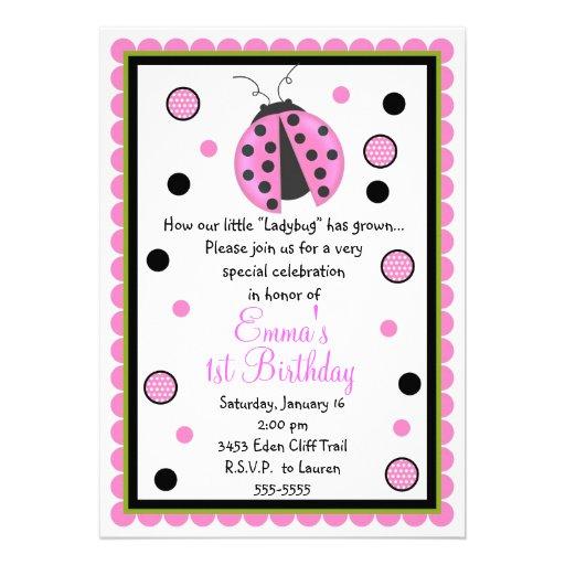 Invitaciones rosadas del cumpleaños de la mariquit anuncios