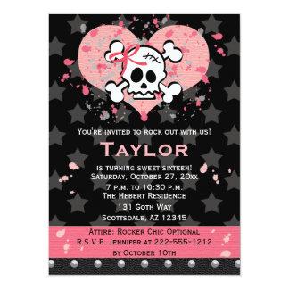 Invitaciones rosadas del cumpleaños del cráneo invitación 13,9 x 19,0 cm