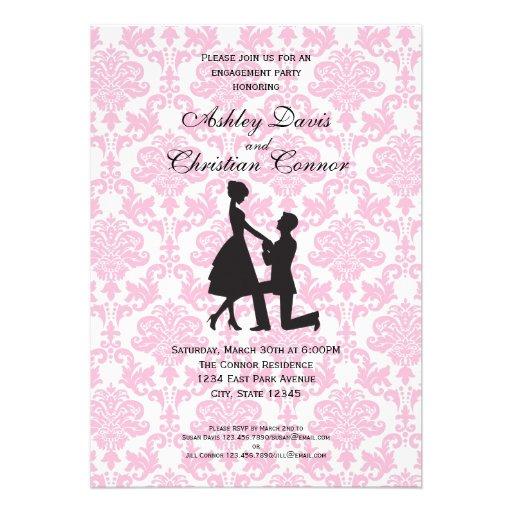 Invitaciones rosadas del damasco anuncios personalizados