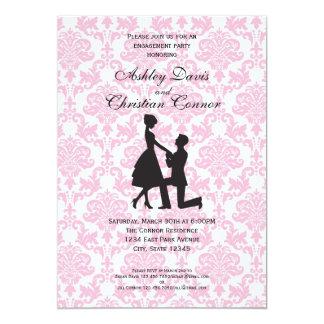 Invitaciones rosadas del damasco invitación 12,7 x 17,8 cm