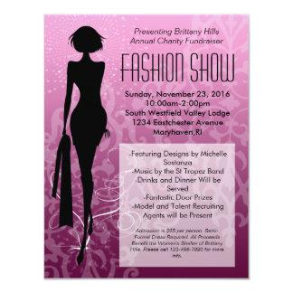 Invitaciones rosadas del desfile de moda de la invitación 10,8 x 13,9 cm