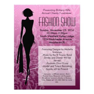 Invitaciones rosadas del desfile de moda de la sil invitaciones personales