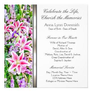 Invitaciones rosadas del entierro del lirio