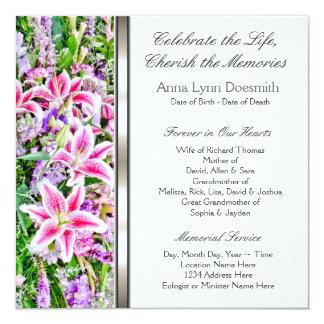 Invitaciones rosadas del entierro del lirio invitaciones personales
