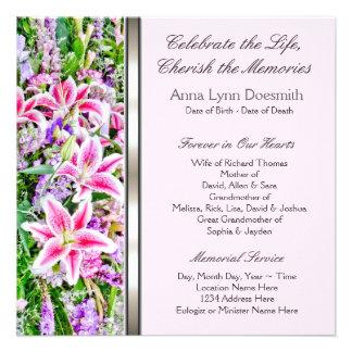 Invitaciones rosadas del entierro del lirio anuncios personalizados