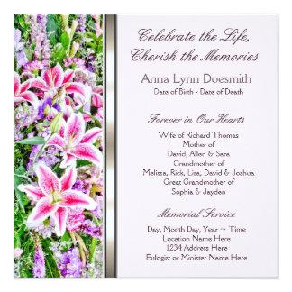 Invitaciones rosadas del entierro del lirio invitación 13,3 cm x 13,3cm