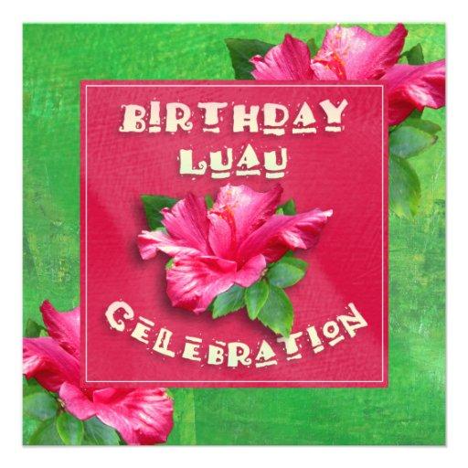 Invitaciones rosadas del fiesta de Luau del cumple Invitación Personalizada