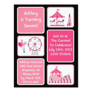 Invitaciones rosadas del fiesta del carnaval de invitación 10,8 x 13,9 cm
