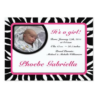 Invitaciones rosadas del nacimiento del estampado invitación 12,7 x 17,8 cm