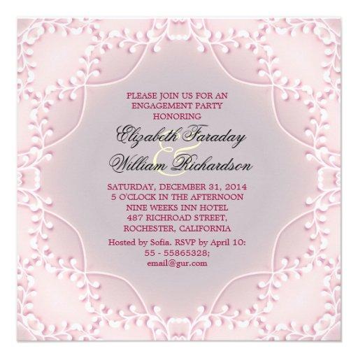 invitaciones rosadas elegantes del compromiso comunicado