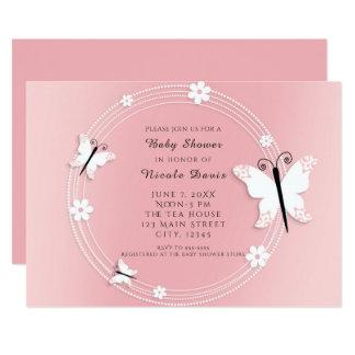 Invitaciones rosadas y blancas de las mariposas y