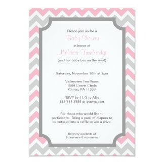 Invitaciones rosadas y grises de la fiesta de invitación 12,7 x 17,8 cm