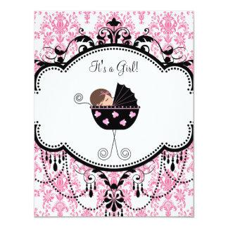 Invitaciones rosadas y negras de la ducha de la invitación 10,8 x 13,9 cm