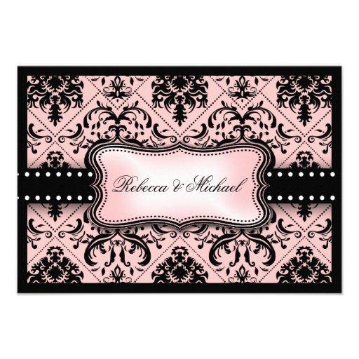 Invitaciones rosadas y negras hermosas del damasco comunicados personales