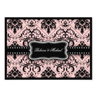 Invitaciones rosadas y negras hermosas del damasco comunicado personal