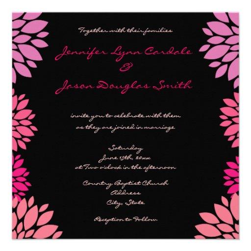 Invitaciones rosadas y negras púrpuras del boda de comunicados